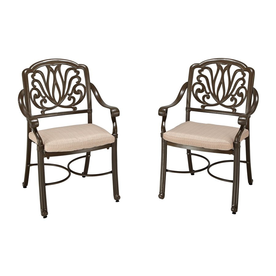 Home Styles Floral Blossom 2-Count Taupe Aluminum Patio Dining Chairs