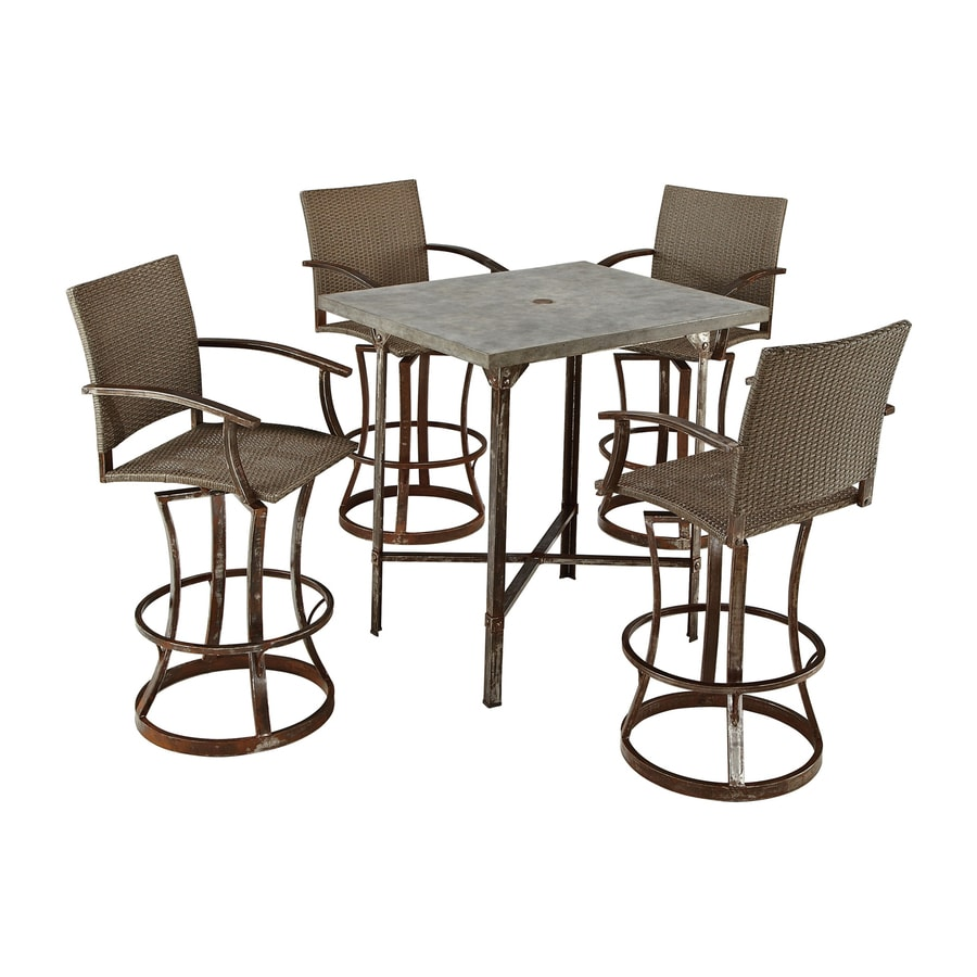 Home Styles Urban Outdoor 5 Piece Aged Metal Concrete Bar Patio Dining Set