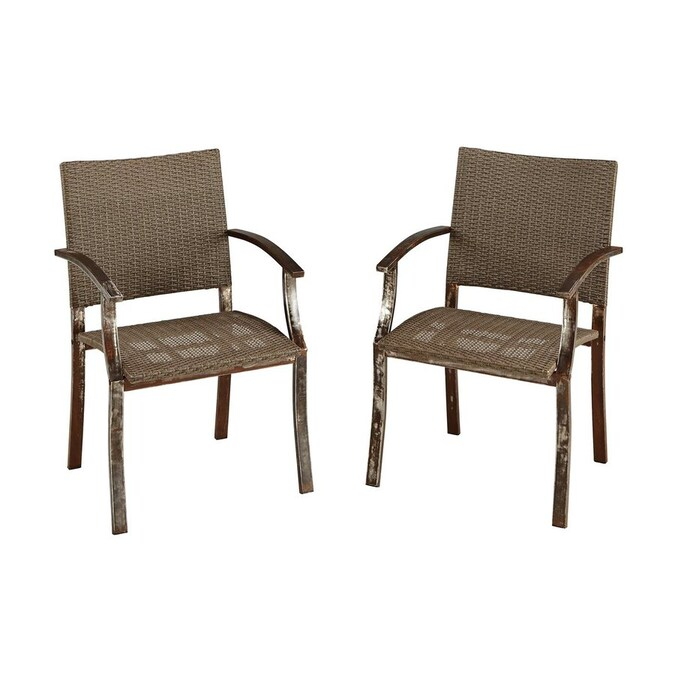 Home Styles Urban Outdoor 2 Count Woven Vinyl Patio Dining Chairs In The Patio Chairs Department At Lowes Com