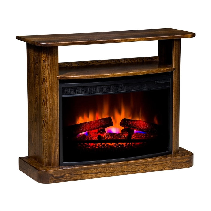 Topeka Innovative Concepts 36-in W 5200-BTU Elm/Cherry Wood LED Electric Fireplace with Thermostat and Remote Control