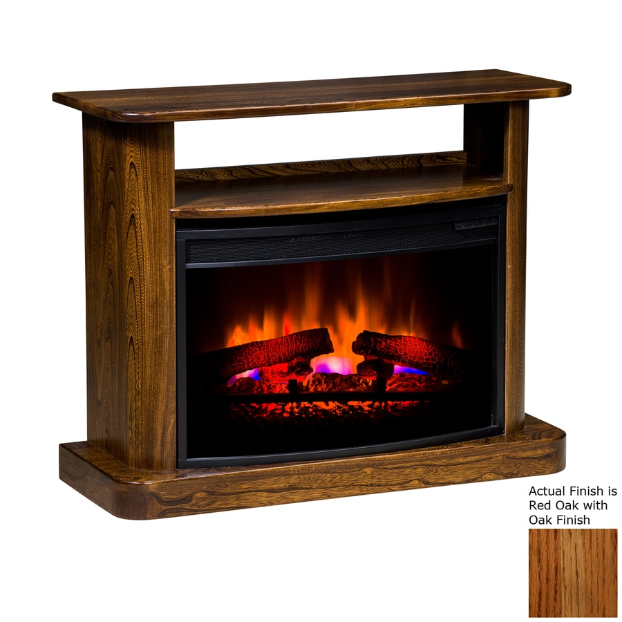 Topeka Innovative Concepts 37.5-in W 4,436-BTU Red Oak with Oak Wood LED Electric Fireplace with Thermostat and Remote Control