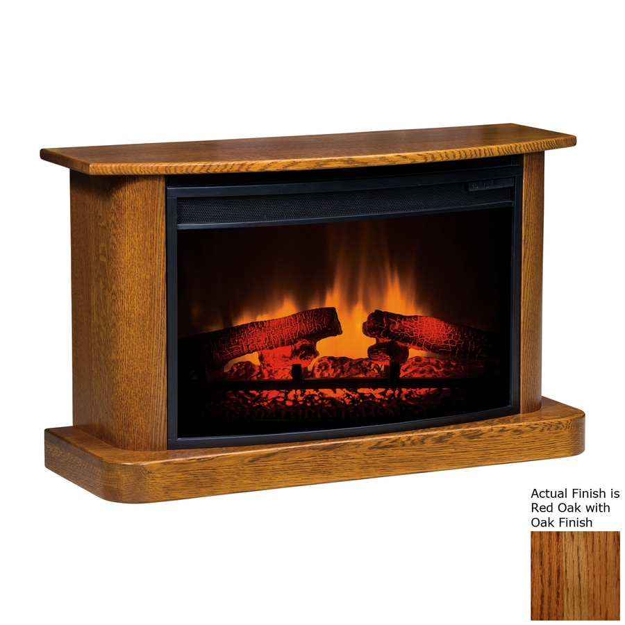 Topeka Innovative Concepts 35.5-in W 5200-BTU Red Oak Wood LED Electric Fireplace with Thermostat and Remote Control