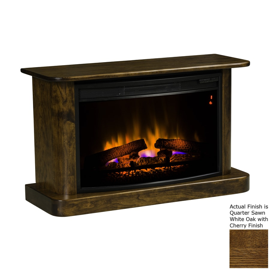Topeka Innovative Concepts 35.5-in W 5200-BTU Quarter Sawn White Oak/Cherry Wood LED Electric Fireplace with Thermostat and Remote Control