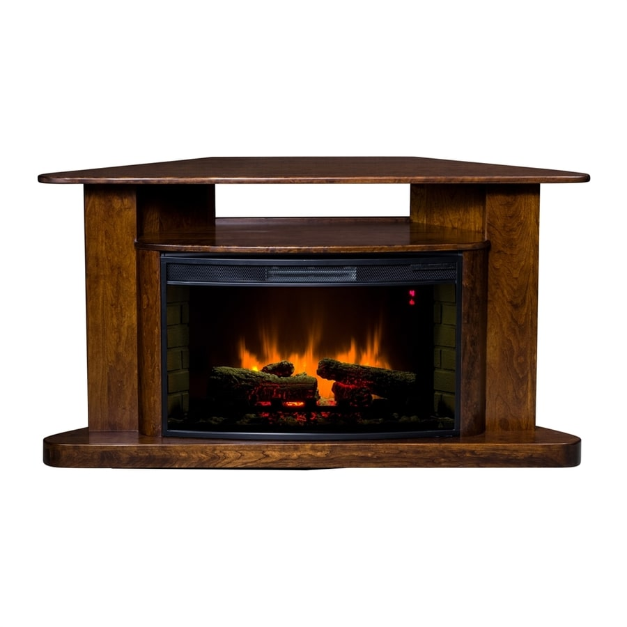 Topeka Innovative Concepts 60-in W 5200-BTU Cherry Wood Corner LED Electric Fireplace with Thermostat and Remote Control