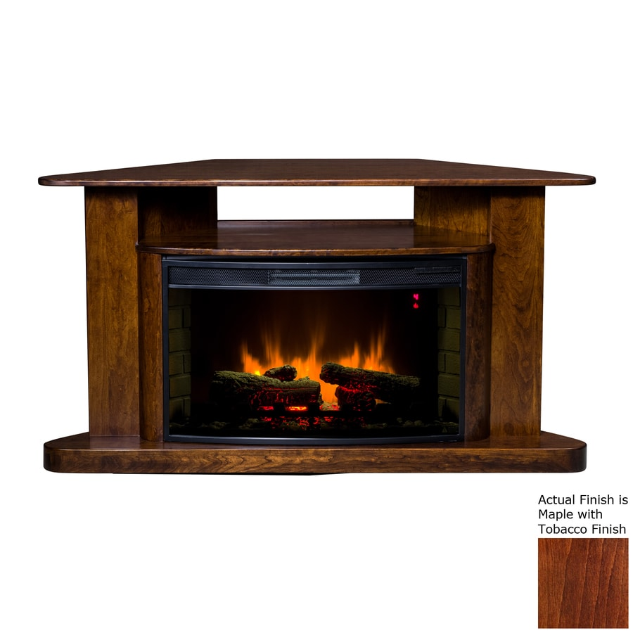 Topeka Innovative Concepts 60-in W 5200-BTU Maple/Tobacco Wood Corner LED Electric Fireplace with Thermostat and Remote Control