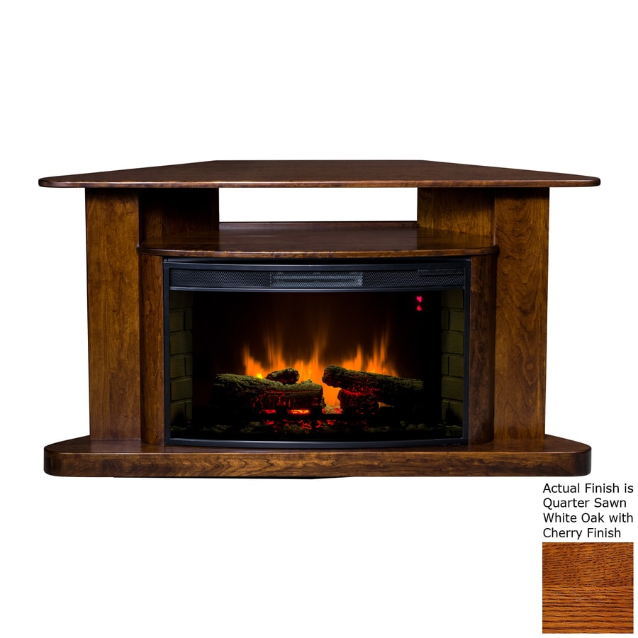 Topeka Innovative Concepts 60-in W 5200-BTU Quarter Sawn White Oak/Cherry Wood Corner LED Electric Fireplace with Thermostat and Remote Control