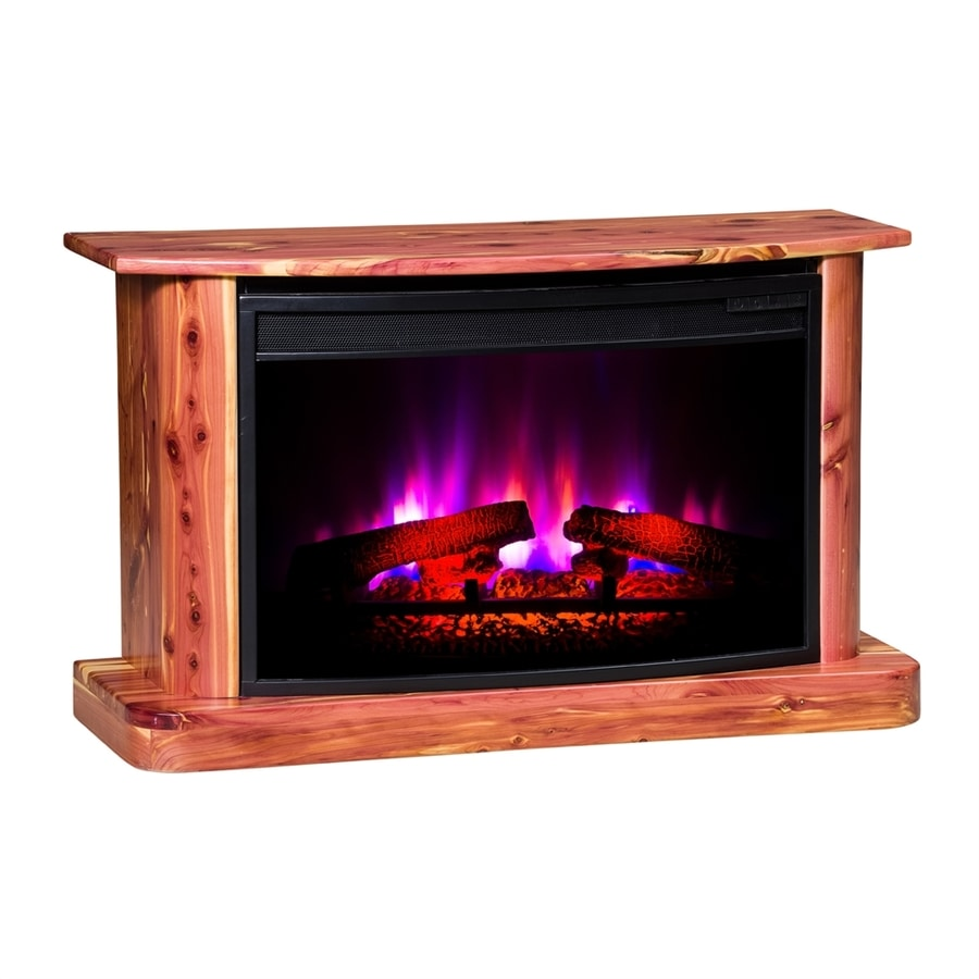 Topeka Innovative Concepts 37-in W 4770-BTU Cedar with Clear Wood LED Electric Fireplace with Thermostat and Remote Control