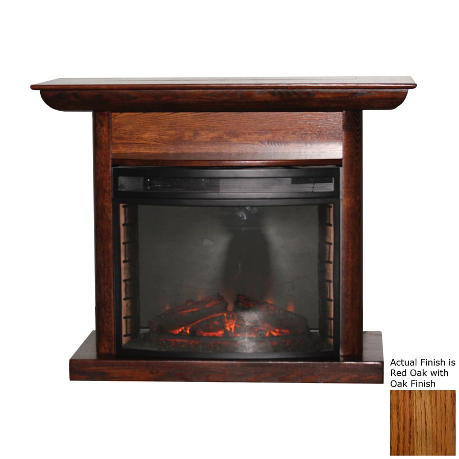 Topeka Innovative Concepts 46.5-in W 4436-BTU Red Oak Wood LED Electric Fireplace with Thermostat and Remote Control