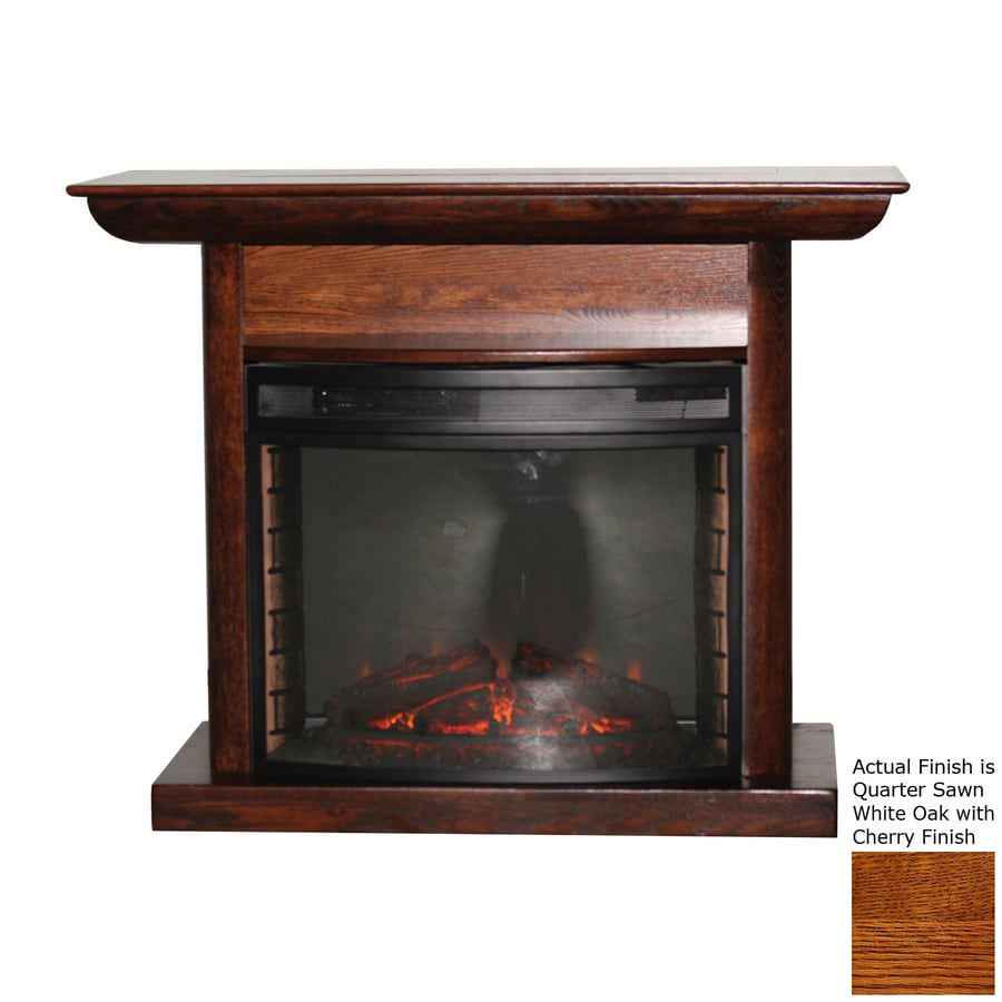 Topeka Innovative Concepts 46.5-in W 4436-BTU Quarter Sawn White Oak/Cherry Wood LED Electric Fireplace with Thermostat and Remote Control
