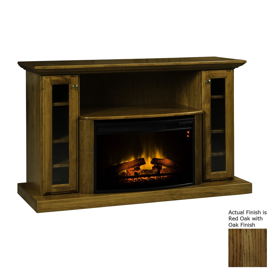 Topeka Innovative Concepts 54.5-in W 5200-BTU Red Oak Wood LED Electric Fireplace with Thermostat and Remote Control