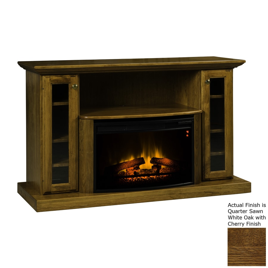 Topeka Innovative Concepts 54.5-in W 5200-BTU Quarter Sawn White Oak/Cherry Wood LED Electric Fireplace with Thermostat and Remote Control