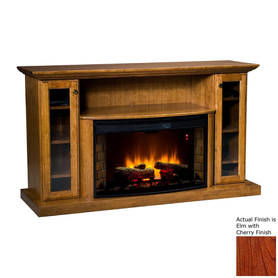 Topeka Innovative Concepts 64-in W 5200-BTU Elm/Cherry Wood LED Electric Fireplace with Thermostat and Remote Control