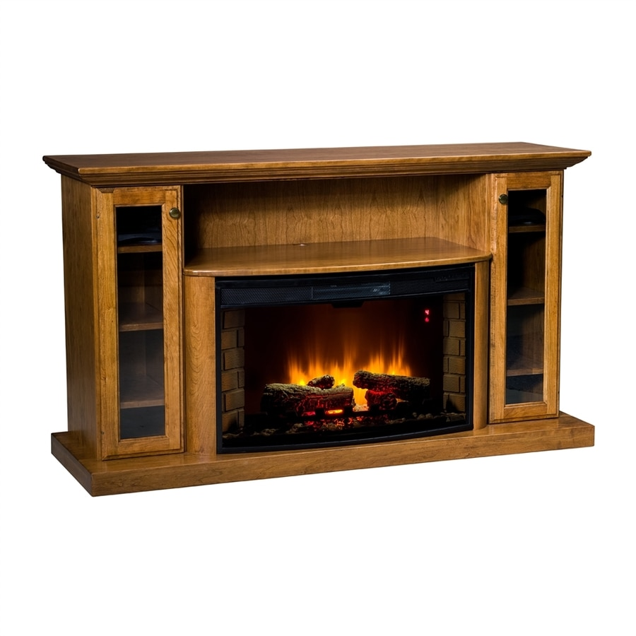 Topeka Innovative Concepts 64-in W 5200-BTU Red Oak Wood LED Electric Fireplace with Thermostat and Remote Control
