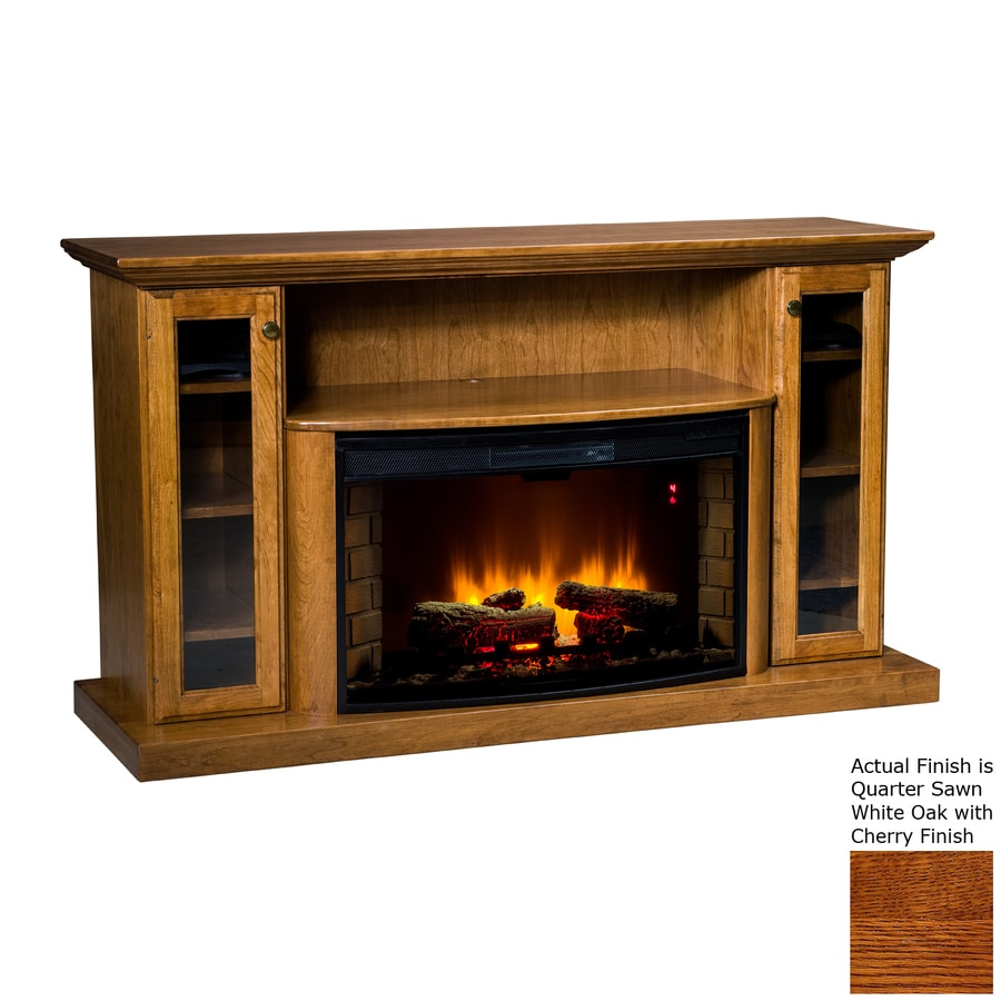 Topeka Innovative Concepts 64-in W 5200-BTU Quarter Sawn White Oak/Cherry Wood LED Electric Fireplace with Thermostat and Remote Control