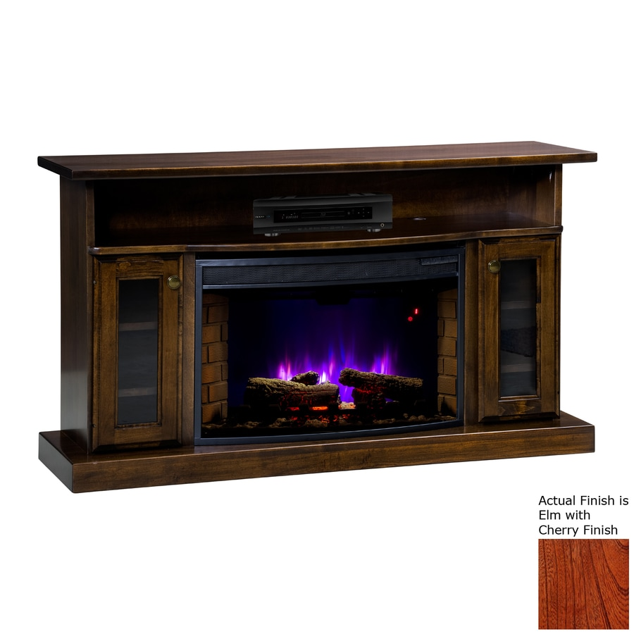 Topeka Innovative Concepts 49.5-in W 5200-BTU Elm/Cherry Wood LED Electric Fireplace with Thermostat and Remote Control