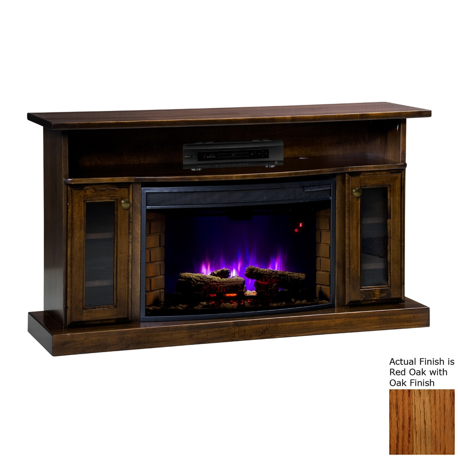 Topeka Innovative Concepts 49.5-in W 5200-BTU Red Oak Wood LED Electric Fireplace with Thermostat and Remote Control