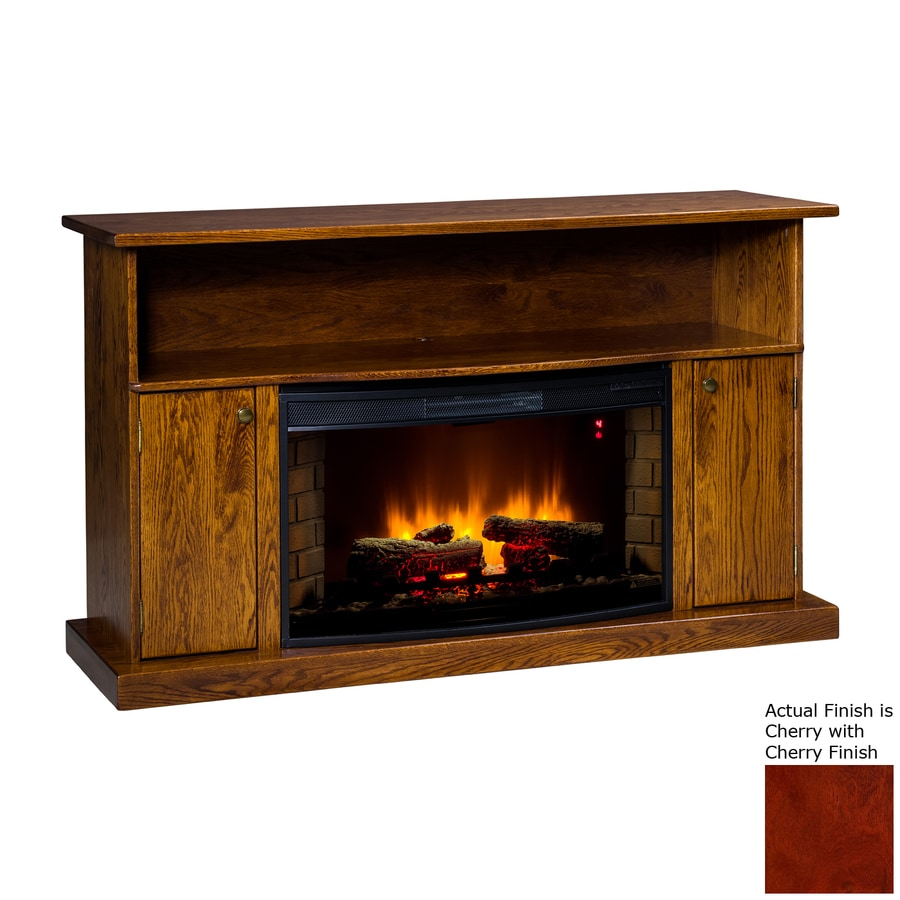 Topeka Innovative Concepts 60-in W 5200-BTU Cherry Wood LED Electric Fireplace with Thermostat and Remote Control