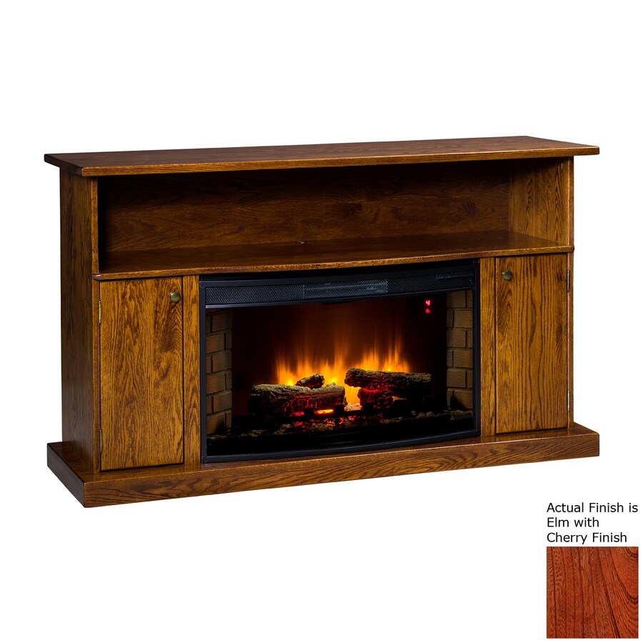Topeka Innovative Concepts 60-in W 5200-BTU Elm/Cherry Wood LED Electric Fireplace with Thermostat and Remote Control