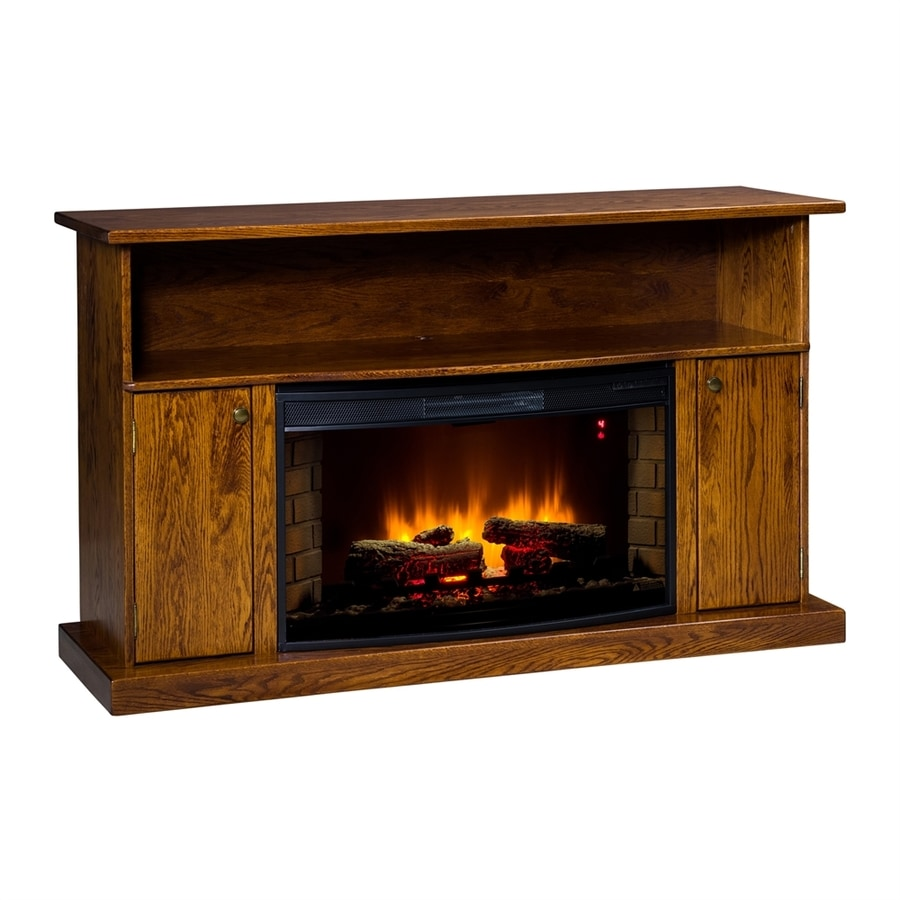 Topeka Innovative Concepts 60-in W 5200-BTU Red Oak Wood LED Electric Fireplace with Thermostat and Remote Control