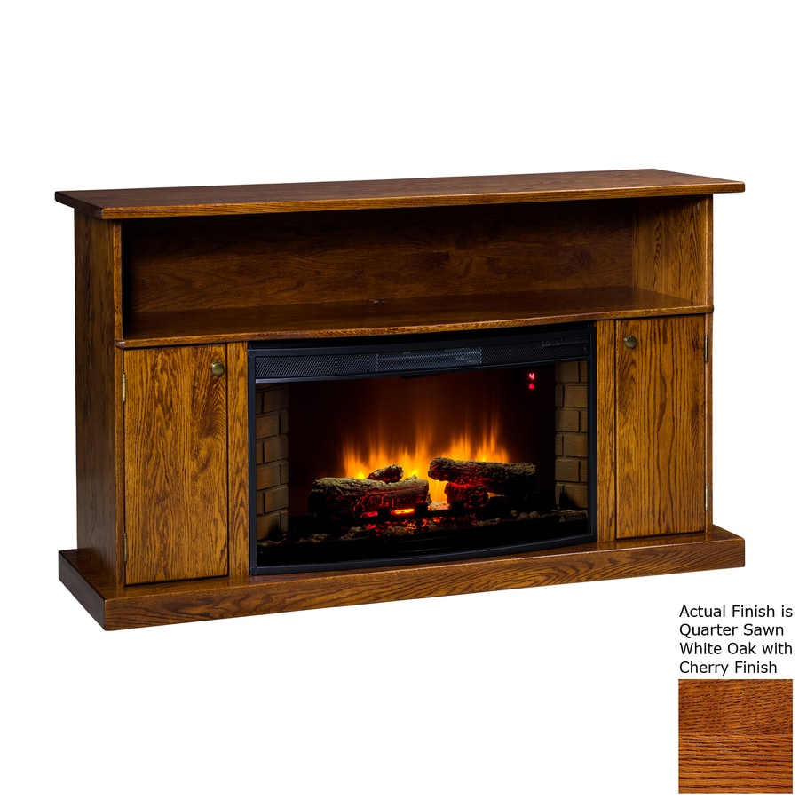 Topeka Innovative Concepts 60-in W 5200-BTU Quarter Sawn White Oak/Cherry Wood LED Electric Fireplace with Thermostat and Remote Control