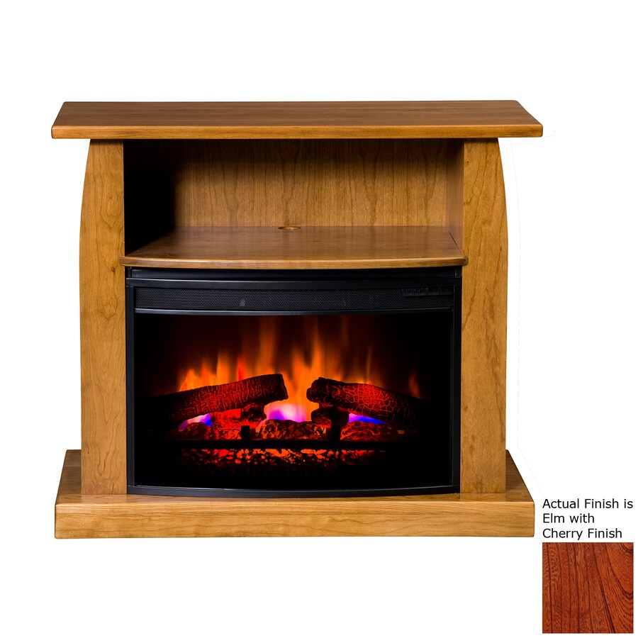 Topeka Innovative Concepts 37-in W 5200-BTU Elm/Cherry Wood LED Electric Fireplace with Thermostat and Remote Control