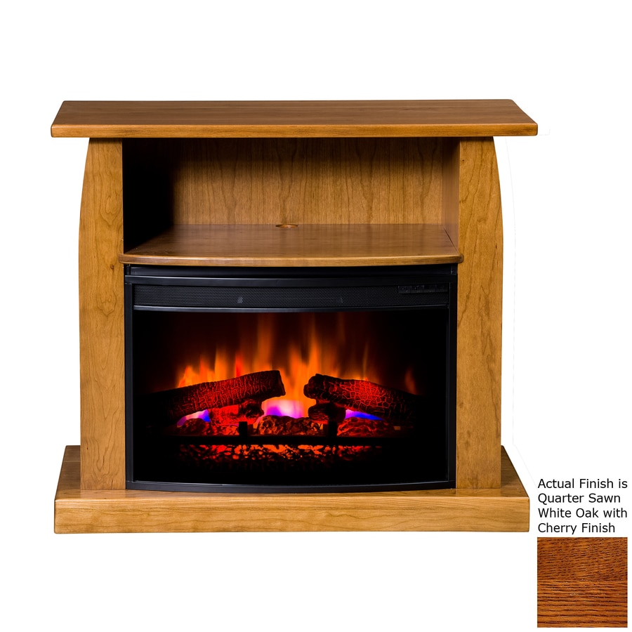 Topeka Innovative Concepts 37-in W 5200-BTU Quarter Sawn White Oak/Cherry Wood LED Electric Fireplace with Thermostat and Remote Control