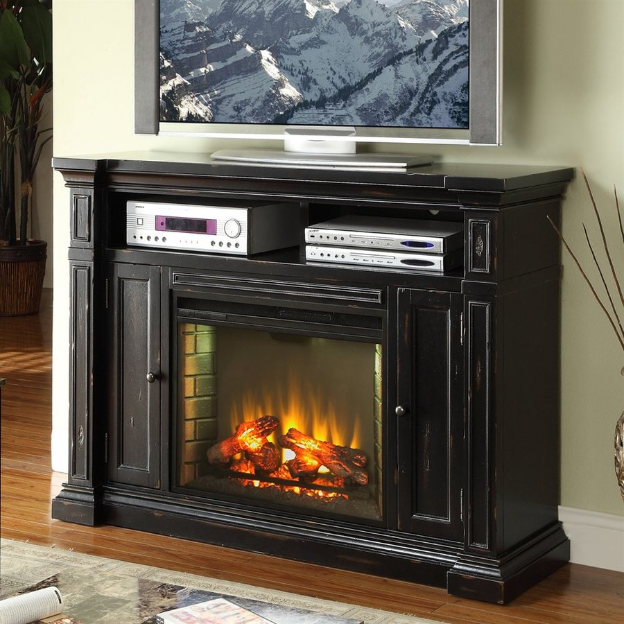 Legends Furniture 58-in W 4,600-BTU Rustic Black Wood Fan-Forced Electric Fireplace with Thermostat and Remote Control
