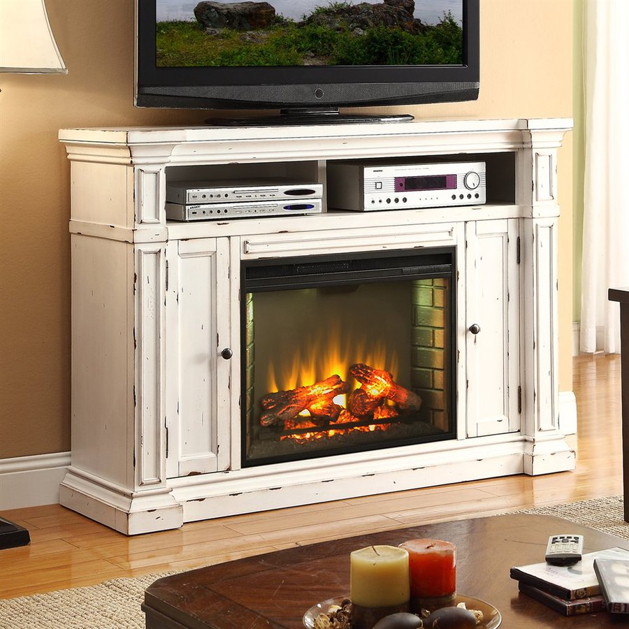 600-BTU Rustic White Wood Fan-Forced Electric Fireplace with Thermostat and Remote Control at Lowes.com