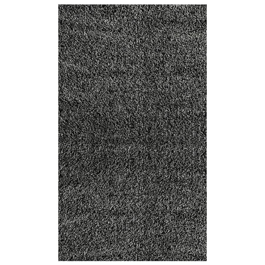 Nuloom Black And White Rug: NuLOOM Black/Gray Rectangular Indoor Shag Area Rug (Common