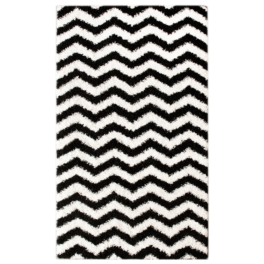 nuLOOM Black/White Rectangular Indoor Shag Area Rug (Common: 5 x 8; Actual: 63-in W x 96-in)