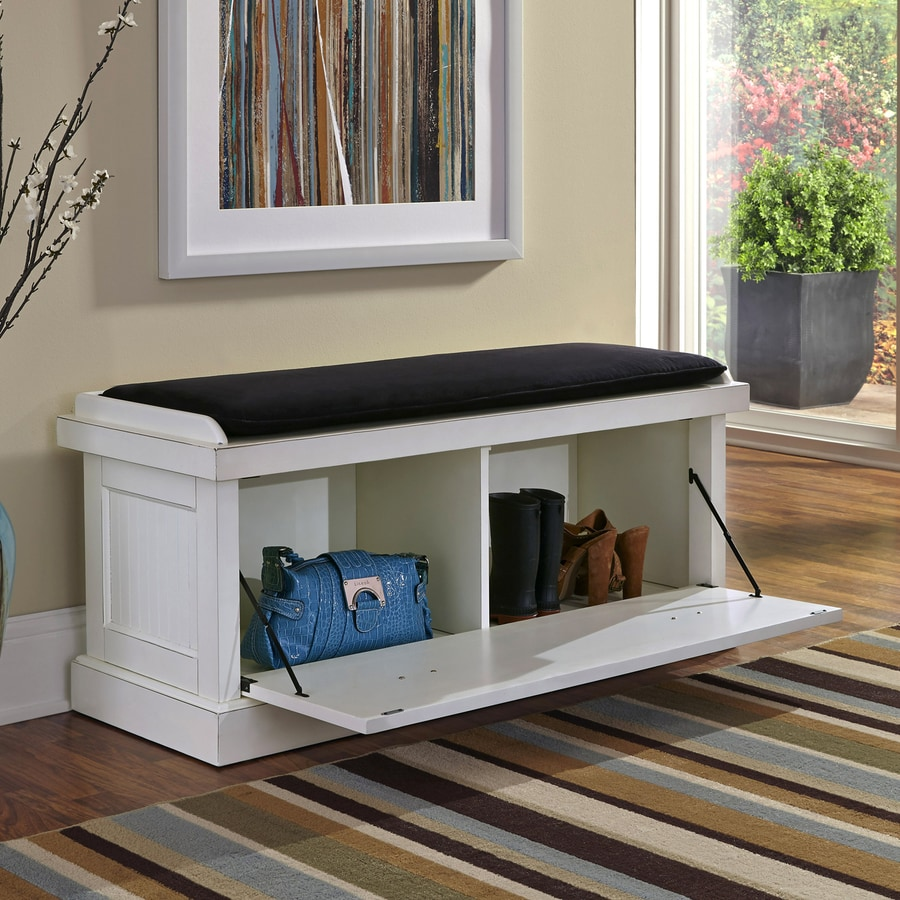 Shop Home Styles Nantucket Transitional Distressed White Storage Bench At