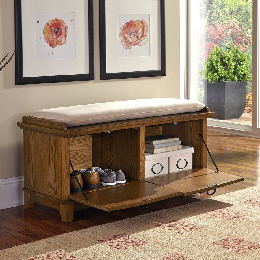Home Styles Arts and Crafts Transitional Cottage Oak Storage Bench