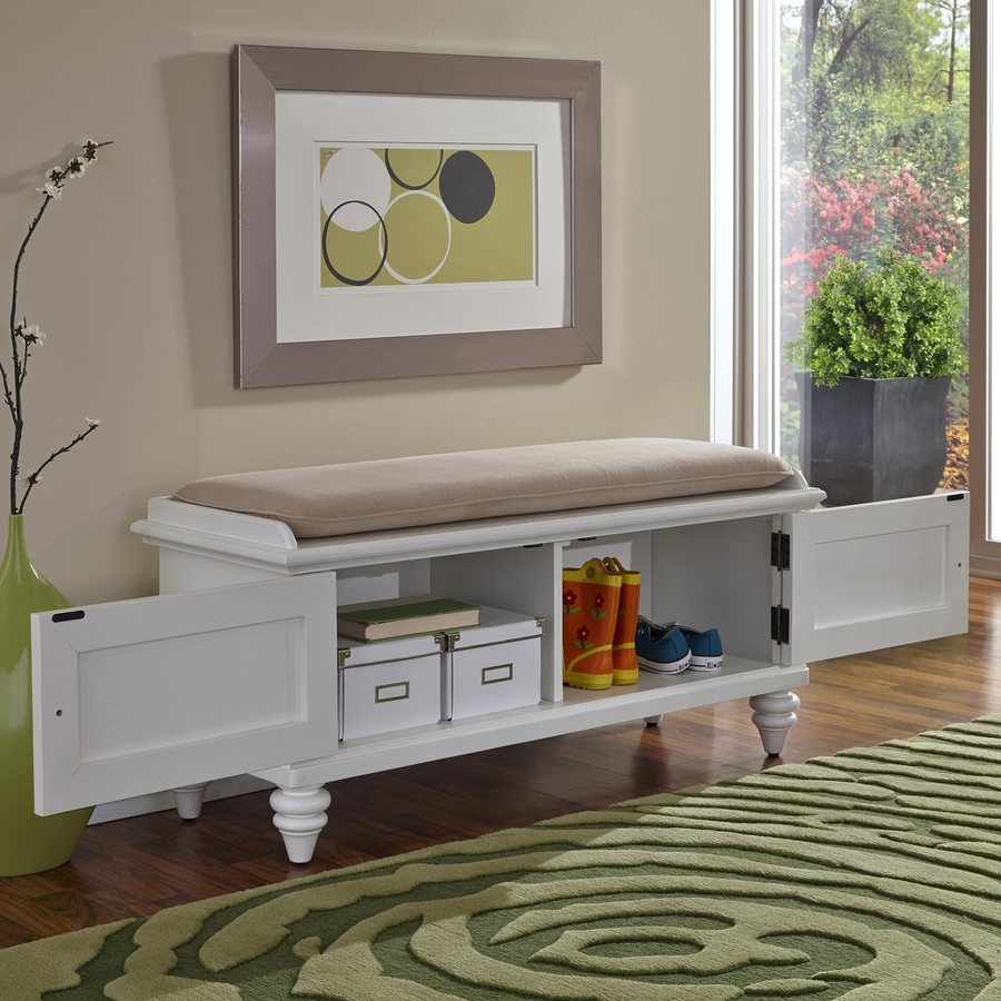 Shop Home Styles Bermuda Traditional White Storage Bench at Lowes.com