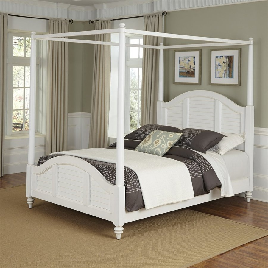 Home Styles Bermuda White Queen Canopy Bed