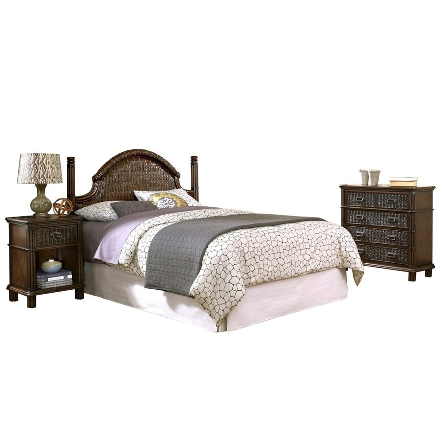 Shop home styles castaway dark mahogany full queen bedroom for Bedroom furniture 28117