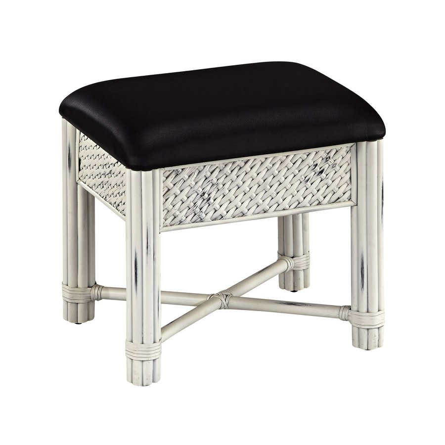 Home Styles 18.75-in H Rubbed White/Black Rectangular Makeup Vanity Stool