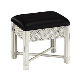 Home Styles 18 75 In H Rubbed White Black Rectangular Makeup Vanity Stool