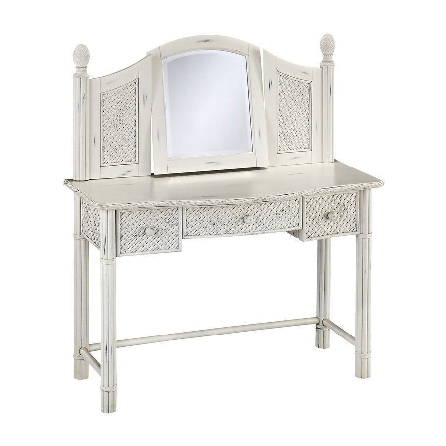 Home Styles Marco Island Rubbed White Makeup Vanity