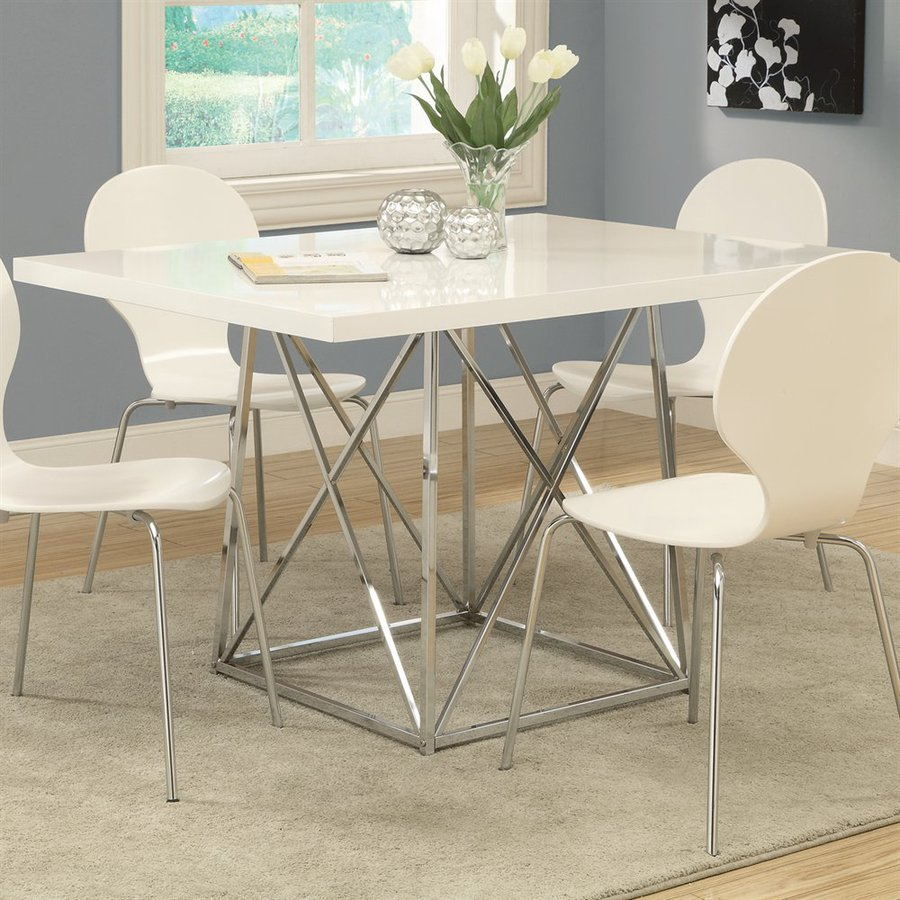 Monarch Specialties White Rectangular Dining Table