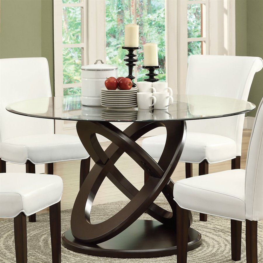 monarch specialties clear tempered glass round table - Glass Round Dining Table