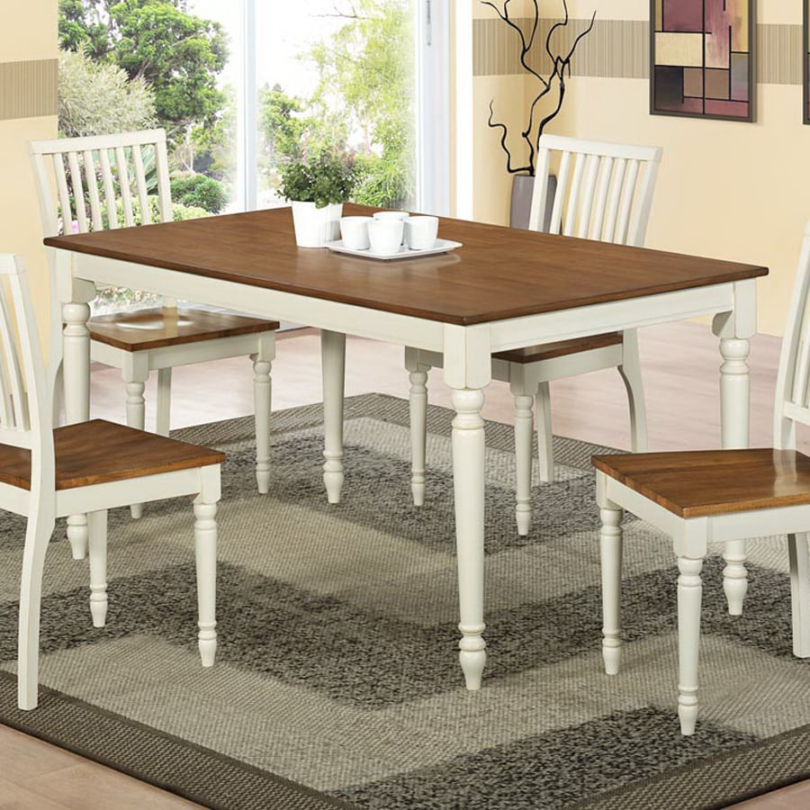 Monarch Specialties Antique White/Oak Rectangular Dining Table