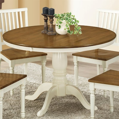 Monarch Specialties Antique White/Oak Round Dining Table at ...