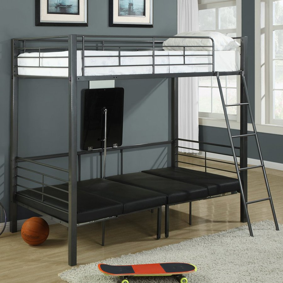 Monarch Specialties Charcoal Grey Twin Over Twin Bunk Bed