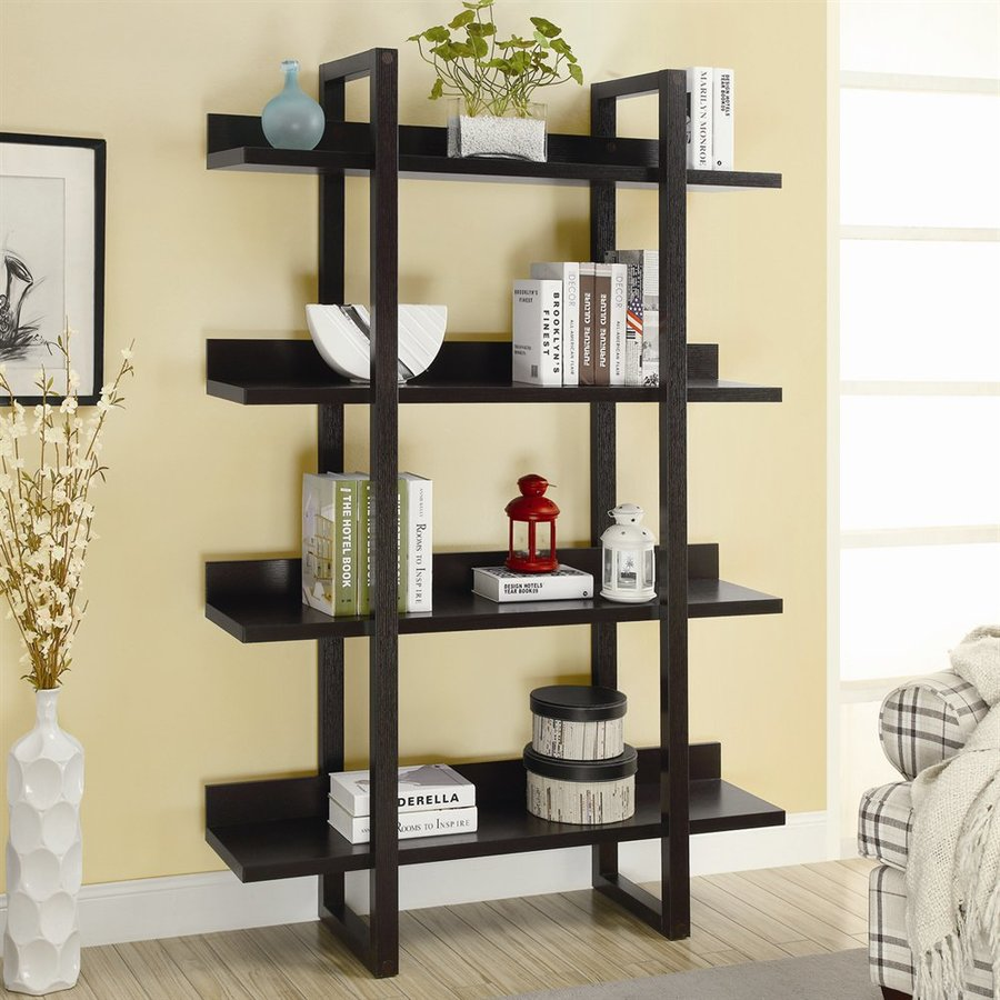 Monarch Specialties Cappuccino Composite 4-Shelf Bookcase