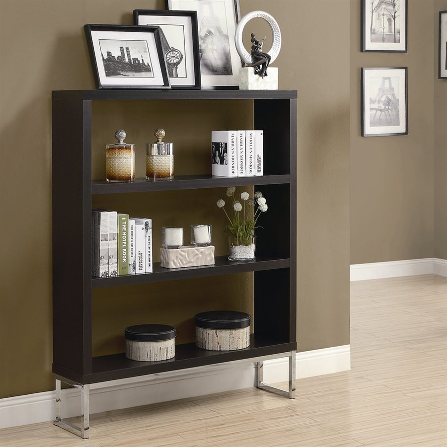 Monarch Specialties Cappuccino 47.25-in W x 60-in H x 11.5-in D 3-Shelf Bookcase