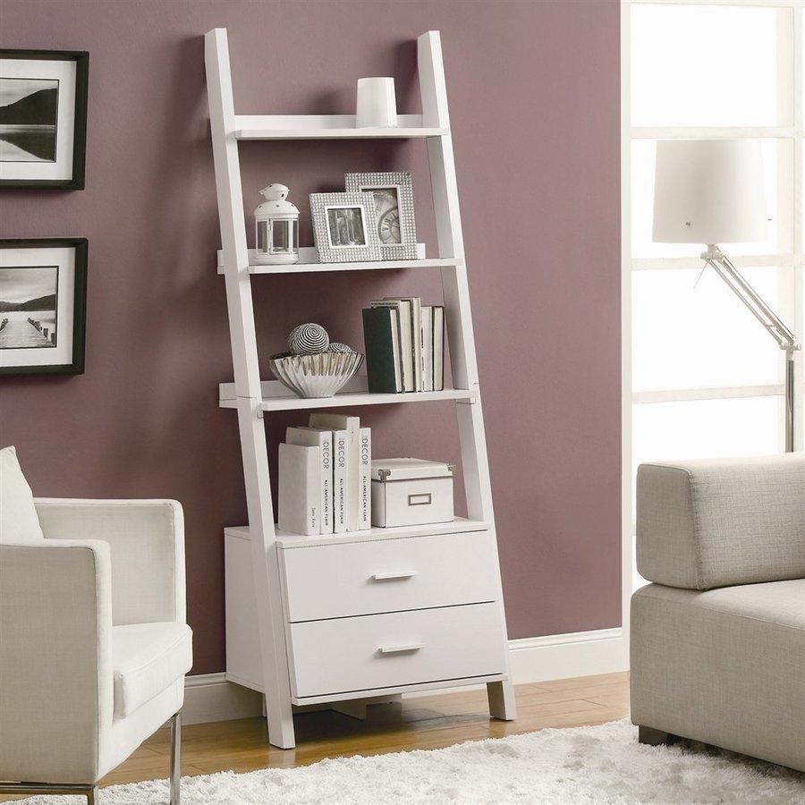 Monarch Specialties White 25.75-in W x 69-in H x 16.75-in D 4-Shelf Bookcase