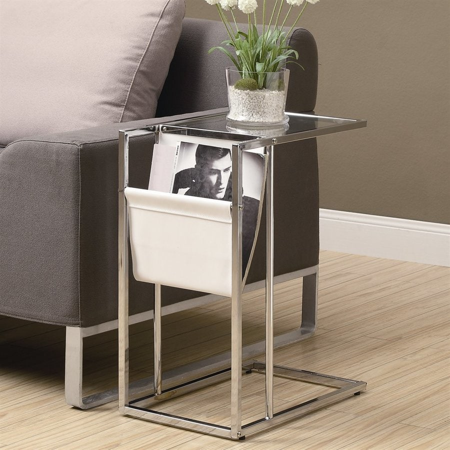 Monarch Specialties Chrome/Glass Rectangular End Table