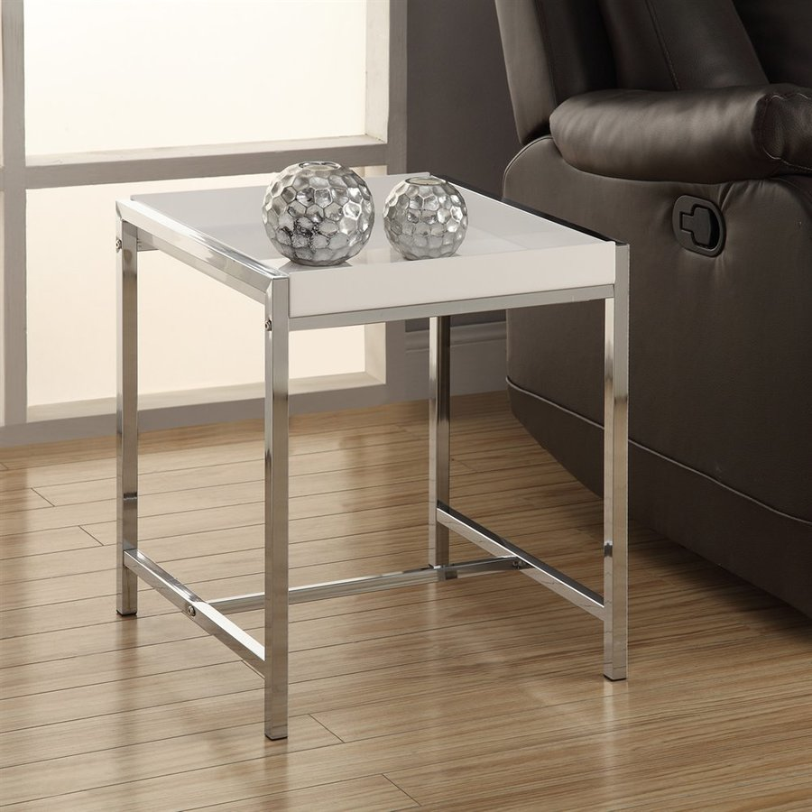Monarch Specialties White Square End Table