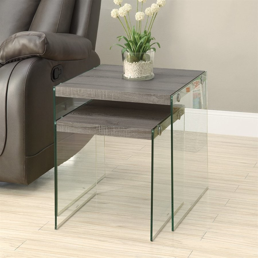 Monarch Specialties 2-Piece Dark Taupe Accent Table Set