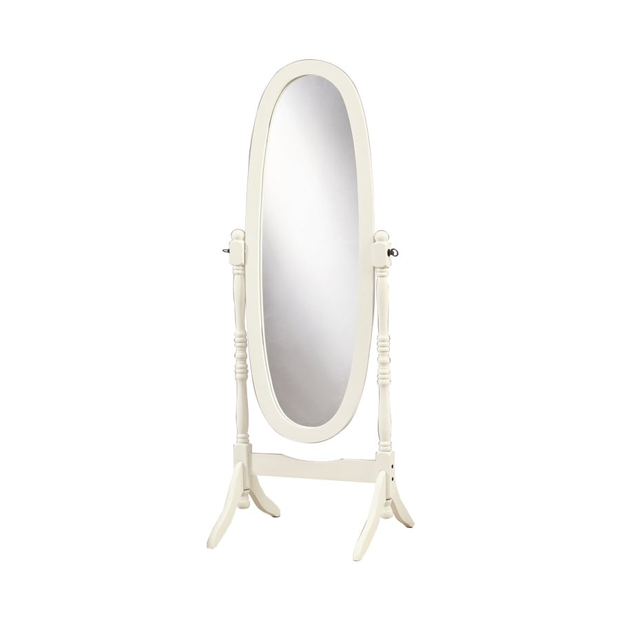 Monarch Specialties 20.5-in x 59-in Antique White Oval Framed Floor Mirror